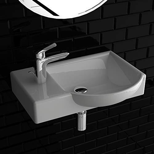 Alpenberger Keramik Waschtisch Handwaschbecken mit Überlauf 450 mm Breite in elegantem Design | Durch schmutzabweisende Oberfläche Schmutz und Kalk einfach ablaufen | Waschtisch mit Überlauf
