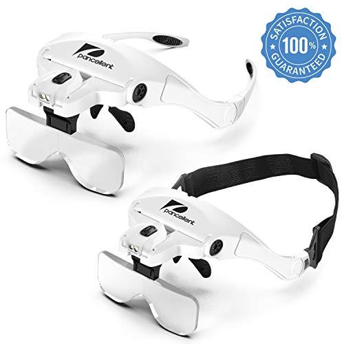 Gafas Lupa de 2 Luces LED Lupa de Cabeza con 5 Lentes Intercambiables de Gran Aumento y 9 Pinzas de Precisión para Coser, Relojero, Reparaciones, Soldadura, Móvil, Artesanía