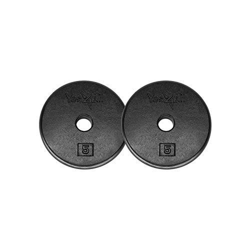 Yes4All 1-inch Cast Iron Weight Plates for Dumbbells – Standard Weight Disc Plates (5 lbs, Set of 2)