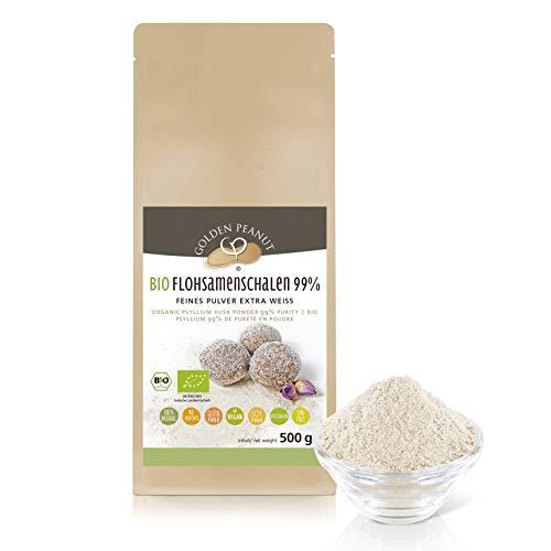 Bio Flohsamenschalen Pulver 99 % 1 kg   Psyllium Pulver   fein gemahlen   ohne Zusätze   glutenfrei   geprüfte Qualität   Backzutat   Golden Peanut