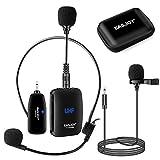 Lavalier - Microfono senza fili a clip, con custodia, per smartphone, computer, fotocamera, amplificatore vocale, interviste, vlogging