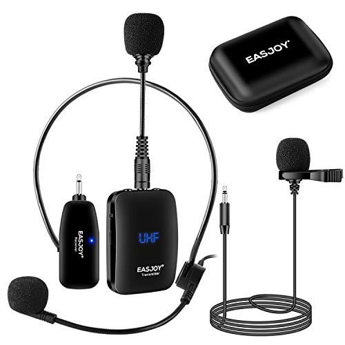 Auricular inalámbrico Lavalier Sistema de micrófono / micrófono de clip / micrófono de pie, micrófono inalámbrico con funda de almacenamiento para iPhones, ordenador, cámara, amplificador de voz