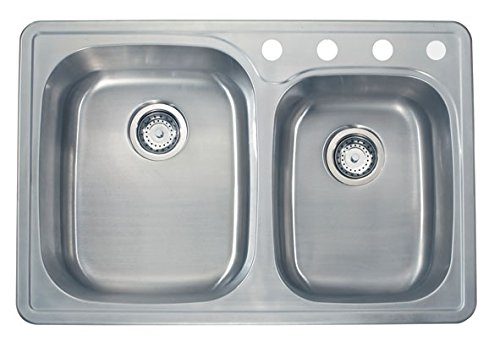 For Sale! Apogee by Lenova Sinks - 20 Gauge Stainless Steel Topmount Kitchen Sink (4 faucet holes) -...
