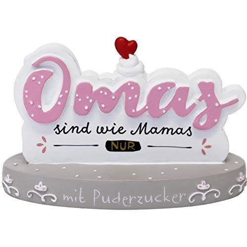 Happy Life 46123 Fotohalter mit Spruch Omas sind wie Mamas nur mit Puderzucker, Grau, Rosa, Geschenk Oma