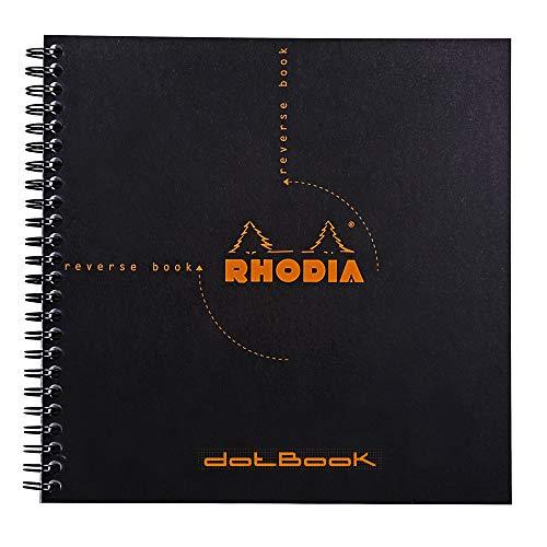 Libreta Rhodia Reverse Book, de anillas, a cuadros, 21 x 21 cm, 80 hojas, color Negro 210 x 210 mm