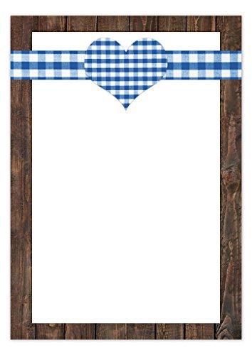 50 vellen briefpapier printpapier blauw-wit-geruit hart hout-look 100 g schrijfpapier motiefpapier DIN A4 briefboog papier Oktoberfest Beieren Beierse etenskaart