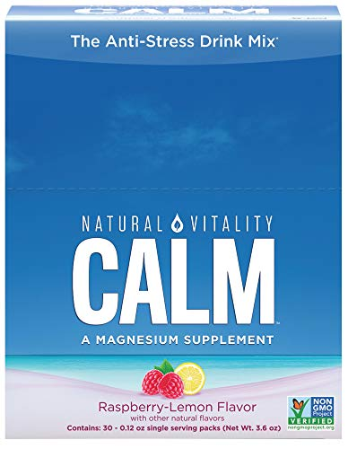 Natural Vitality Natural Calm Plus Drink - Anti-Stress Drink, Water-soluble Magnesium, Raspberry Lemon Flavor. Stress Relief Drink (30 count)