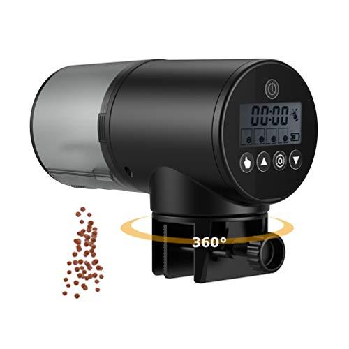 Barkmew Alimentador Automático Acuario Multifuncional Comedero Peces Automático con Pantalla LCD, 200ml, Negro