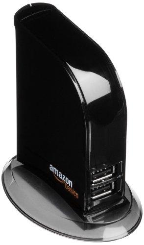 AmazonBasics - Hub USB 2.0 a 7 porte, con alimentatore da 5V e 4A
