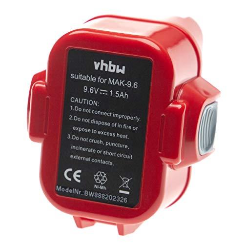 vhbw Batería reemplaza Makita 193156-7, 193977-7, 638344-4-2, 9120, 9122, 9133, 9135A, ML9120 para herramientas eléctricas (1500mAh NiMH 9,6V)