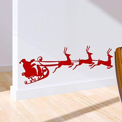KEJIA Rojo Tres Renos Carro de Trineo Santa Claus Mapa de Viaje Etiqueta de la Ventana Etiqueta de la Pared
