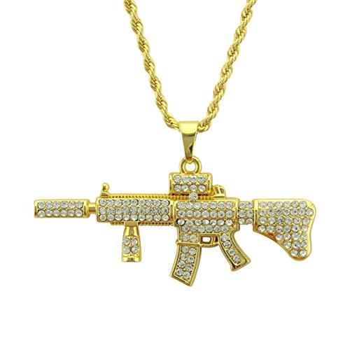 Happyyami Collar de Pistola de Diamantes de Imitación Hip Pop Ak47 Collar Colgante Personalizado Punk Cadena de Oro Accesorios de Joyería Regalo para Hombres Mujer (Cadena Aleatoria)