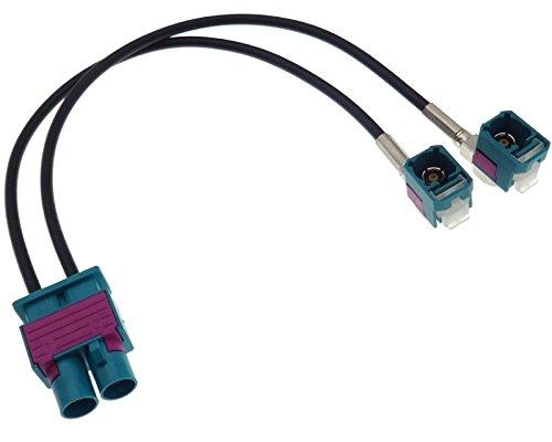 Adaptateur d'antenne Double Fakra fiche mâle (M) 2 x (F) 90° Compatible avec Audi Seat Skoda VAG