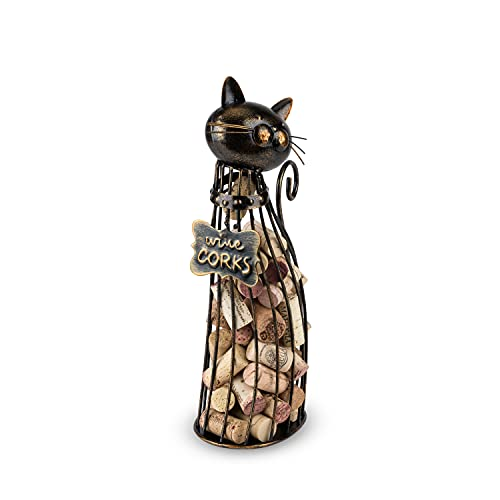 True Cat Wine Cork Holder, Decorative Wine Cork Storage and Decor, Set of 1, Metal with Rustic Bronze Finish, Holds 50 Wine Corks