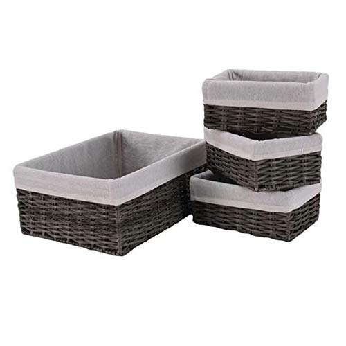 OCHII Handmade Wicker Storage Baskets Set Shelf Baskets Woven Decorative Home Storage Bins Decorative Baskets Organizing Baskets Nesting Baskets(Set of 4,Grey)