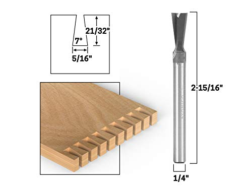 Yonico 14814q 7° X 5/16-Inch Solid Carbide Dovetail Router Bit 1/4-Inch Shank