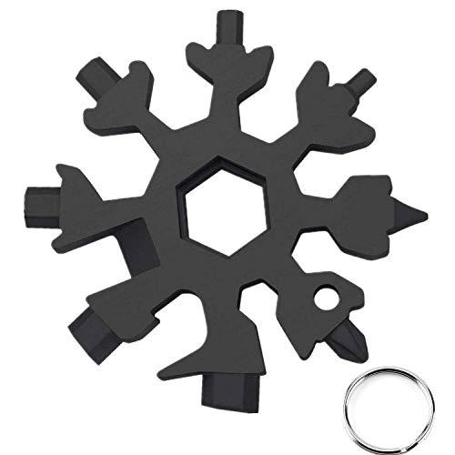 Snowflake - Herramienta multifunción 18 en 1 de acero inoxidable, multiherramienta portátil, destornillador de botella, llave para viajes de camping (negro)