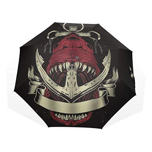 LASINSU Mini Ombrello Portatile Pieghevoli Ombrello Tascabile,Stampa artistica Logo nautico Bandiera pirata Squalo rosso sangue trafitto dall'ancora,Antivento Leggero Ombrello per Donna