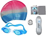 Ans Pink-Blue- White Swimming Kit Combo ; 1 Swimming Bubble Cap, 1 Anti