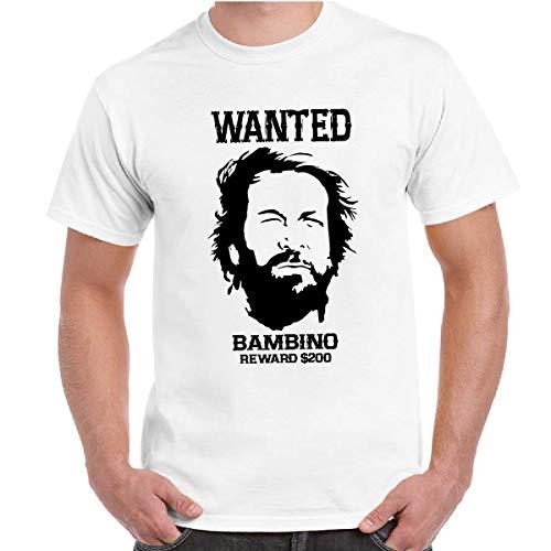 CHEMAGLIETTE! T-Shirt Divertente Uomo con Stampa Film Vintage Lo Chiamavano Trinita Bud Spencer Wanted Bambino, Colore: Bianco, Taglia: 3XL