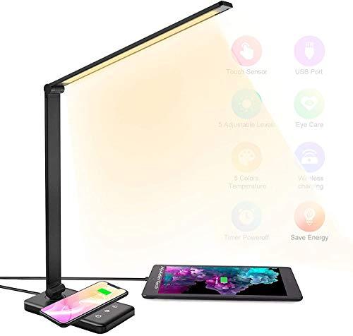 HyAdierTech Lampada da Scrivania Lampada da Tavolo Occhi Cura Regolabile 10 Livelli per 5 Modalità di Illuminazione Desk Lamp Wireless Charger, USB Lampada da Tavolo Pieghevole, Lampada Touch Control