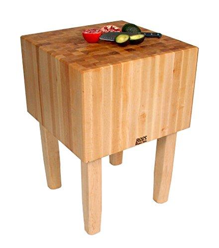 Hot Sale John Boos Solid 16 Inch Hard Rock Maple End Grain Butcher Block on Square Legs, 24 x 24 Inch