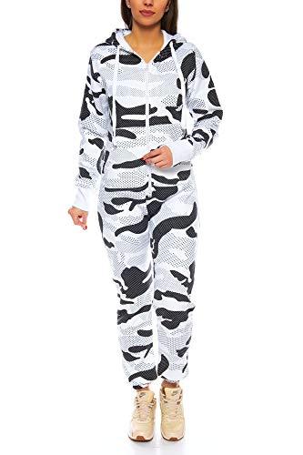 Crazy Age Herren Jumpsuit Overall Strampeler Latzhose Ganzkörperanzug Sweat Camouflage Design. Warm, Weich, Sportlich (XXL, Camouflage Damen 2)