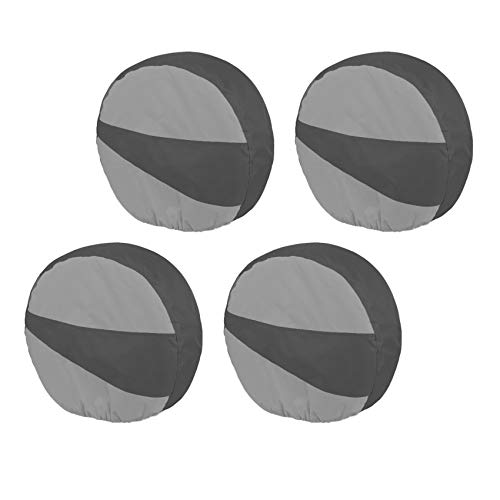 Explore Land Durable Tire Cover Set of 4 - Heavy Duty Tire Wheel Protector for RV, Jeep, Motorhome, SUV, Travel Trailer Fits Tires Diameters 26-28.75 inches 01(Black & Gray)