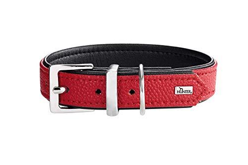 HUNTER VEGA Hundehalsband, Kunstleder, robust, pflegeleicht, 60 (M-L), rot/schwarz