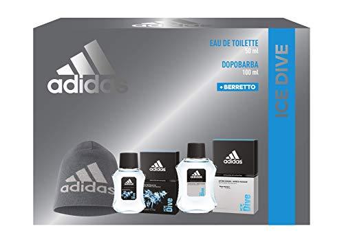 Adidas, Confezione Regalo Uomo Ice Dive, Eau de Toilette 50 ml, Dopobarba 100 ml, Berretto di Lana