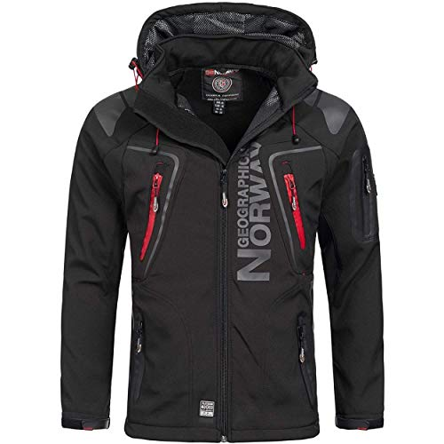 Geographical Norway TECHNO MEN - Herren-Softshell-Jacke - Funktionsjacke Kapuzenmantel - Softshelljacke Winddichte Winterjacke Outdoorjacke Warme- Ideal Für Outdoor-Aktivitäten (SCHWARZ 3XL)