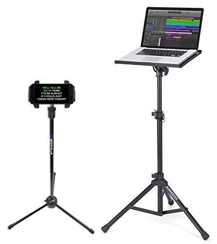 Samson LTS50 Laptop Stand w/Tripod, Tilt, Grip Surface+Tablet/Smartphone Stand