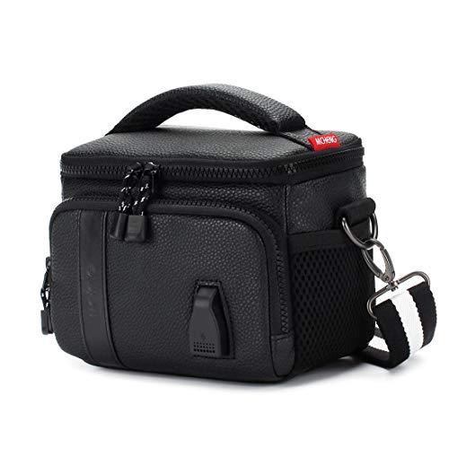 MCHENG Stoßfest Wasserdicht Kameratasche mit USB Ladeanschluss Schultertasche PU Leder für Digitalkamera Kompaktkamera Canon Nikon Sony, Schwarz