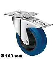 Transportwielen 100 mm zwenkwiel rem bock wielen elastische band blauwe wielen blauw (stuurwiel + rem 100 mm)