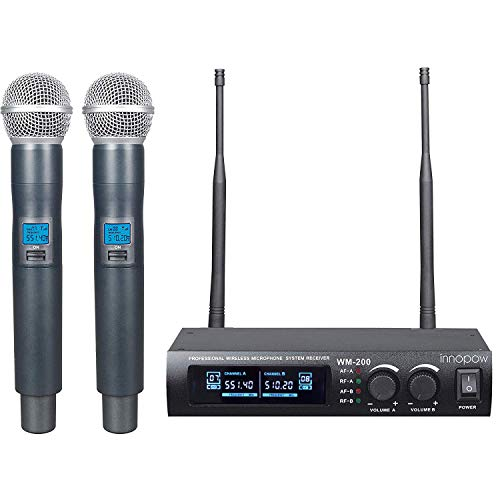 innopow Metal Dual UHF Wireless Microphone System,inp Metal Cordless Mic Set, Fixed Frequency,Long Distance 150-200Ft,16 Hours Continuous Use for Family Party,Church,Small Karaoke Night