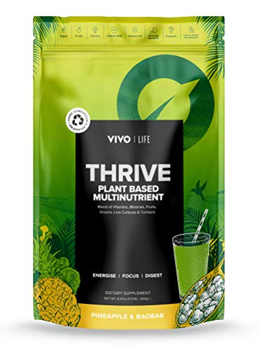 Vivo Life - Thrive Living Multinutrient Vegan Superfood Powder, Pineapple & Boabab, 240g Compostable Bag