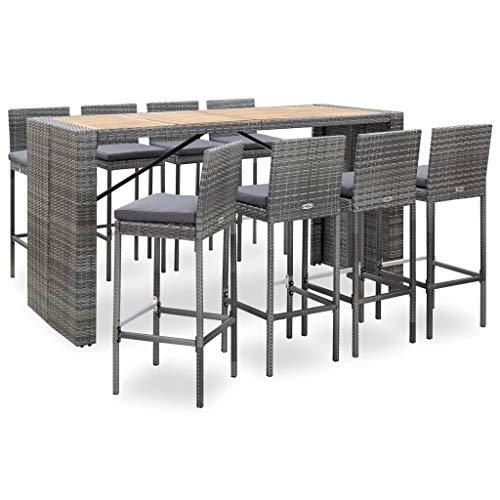 vidaXL Bois d'Acacia Ensemble de Bar 9 pcs Salon de Jardin Mobilier de Patio Table et Chaises de Salle à Manger Terrasse Résine Tressée Gris