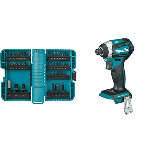Makita A-98326 ImpactX 35 Pc. Driver Bit Set with XDT14Z 18V LXT Lithium-Ion Brushless Cordless Quick-Shift Mode 3-Speed Impact Driver, Tool