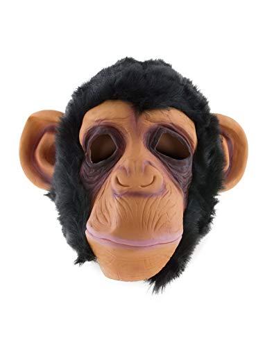 erdbeerclown - Kostüm Accessoires Zubehör Tier Latex Maske Affenmaske Schimpanse AFFE Monkey, ideal für Karneval, Fasching & Fastnacht, Schwarz