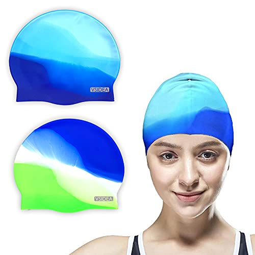 Vsidea Swim Cap Adult (2Pack), Comfortable Silicone Swimming Cap Man Women, Durable Non-Slip Waterproof with Multi Color Bright Cap for Adult Youths