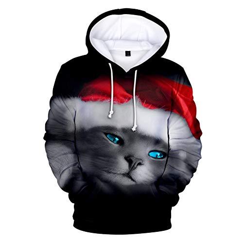 Zcbm 3D Print Graphic Hoodie Sweatshirt Cosplay Chat De Noël Thème Apparel Molletonnés Vêtements Pulls Top L'extérieur des Pulls Manches Longues en Coton avec Poche,B,M