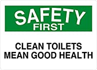 清潔なトイレはまず健康の安全を意味しますブリキ看板ヴィンテージ錫のサイン警告注意サインートポスター安全標識警告装飾金属安全サイン面白いの個性情報サイン金属板鉄の絵表示パネル