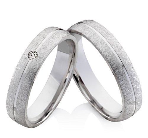 frencheis Eheringe Verlobungsringe Trauringe aus 925 Silber mit Brillant und kostenloser Gravur SB37