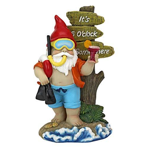 Design Toscano QL307331 Statue-Happy Hour Tropical Garden Scuba Lawn Gnome, One Size, Full Color