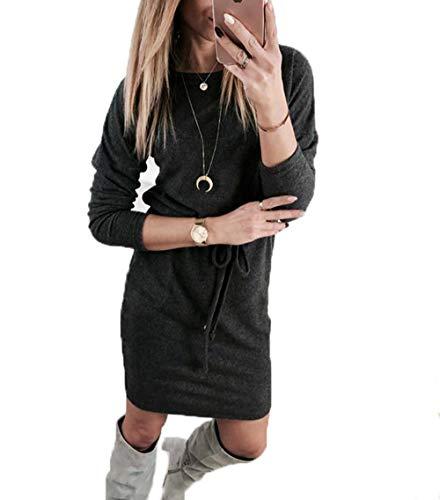Yutila Damen Langarm Strickkleid Pulloverkleid, Dunkelgrau , Gr.- S