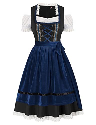 Womens Plus Size Oktoberfest Fraulein Costume 3 Pieces(2XL,Black/Royal Blue)