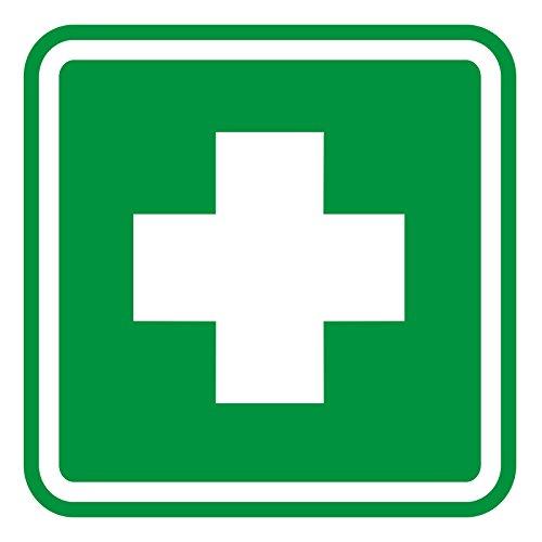 easydruck24de Aufkleber Erste-Hilfe-Kasten, iSecur®,10x10cm, hin_101, Hinweisaufkleber, Warnhinweis, Ersthelfer-Ausrüstung, Erste-Hilfe-Kasten, außenklebend