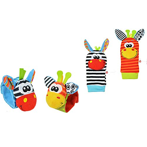 Baby Ankle Socks, Cute Cartoon Animal Infant Crew Socks Wrist Rattles with Grips for Newborn Boy Girls Toy, Donkey #2