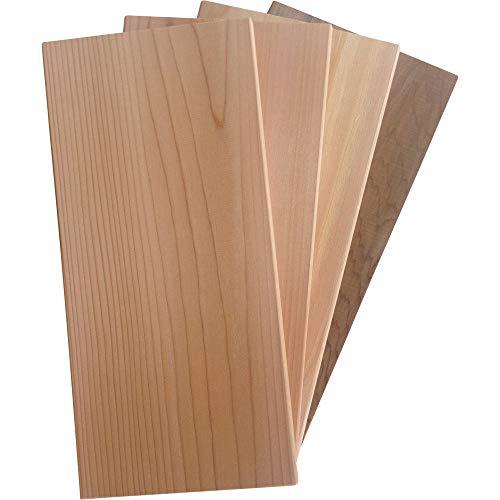 4 St. GRILLFACTUM Grillbretter Grill-Planken Räucherbretter Aromaplanken aus Western Red Zedernholz 29x14x1,1 cm   Grillen mit echtem Barbecue Zedernholz in Premium Qualität