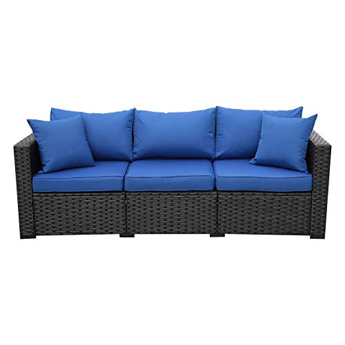 3-Seat Patio PE Wicker Sofa - Outdoor Rattan Couch Furniture w/Steel Frame and Royal Blue Cushion
